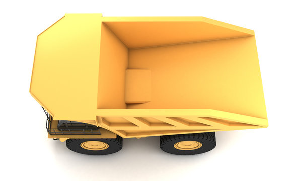 Top view at left side of the huge empty mining dump truck isolated on white background. Left side. Top view. 3d illustration.