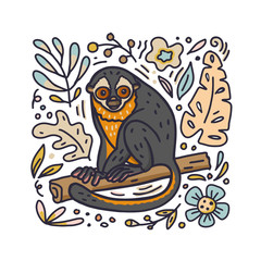 Hand drawn doodle style night monkey with floral elements. Vector illustration.