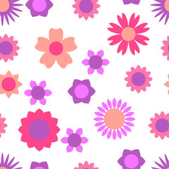 Seamless pattern with various floral elements. Colorful illustration in the style flat.