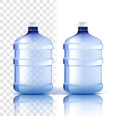 Plastic Bottle Vector. Full Object. Bluer Classic Water Bottle With Cap. Container For Drink, Beverage, Liquid, Soda, Juice. Branding Design. Realistic Isolated Transparent Illustration