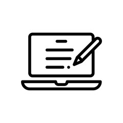 content writing icon, outline black style