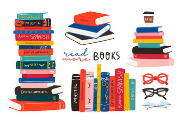 World book day. Stack of books, glasses, vertical books and coffee isolated on a white background. Set of hand drawn educational vector illustrations. Every illustration is isolated