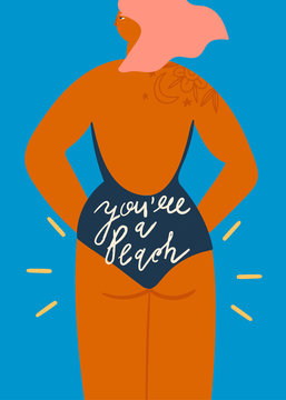 You are a peach. Stylish sun-tanned lady dressed in trendy swimsuit standing backwards. Hand drawn colored vector illustration