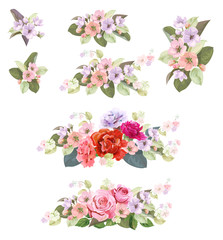 Set of bouquets: roses, spring blossom, carnations. Borders with red, mauve, pink flowers, buds, green leaves on white background. Digital draw illustration in watercolor style, vintage, vector