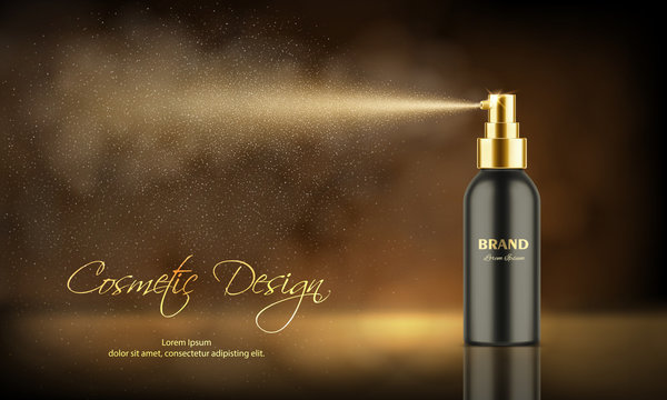 Cosmetics product advertising poster template. Luxury spray bottle, deodorant or freshener with mist of atomizer. Package mockup. Realistic 3d vector illustration on dark bokeh background