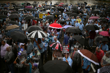 Ford Motor Co's employees protest after the company announced the closure of its oldest Brazil plant, in Sao Bernardo do Campo