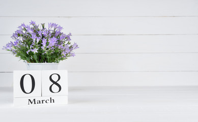 Womens day concept, happy womens day, international women's day. Purple flower in pot with March 8 text wooden block calendar on white wooden background.