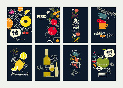Set of restaurant menu, brochure, flyer design templates. Vector illustrations for food and drink marketing material, natural products presentation, cover design, wine list and cocktail menu templates