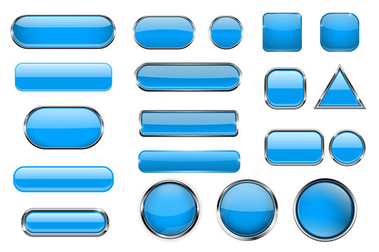Blue glass buttons. Collection of 3d icons