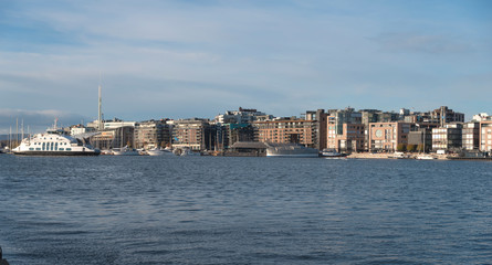 Printed kitchen splashbacks City on the water The port in the city of Oslo.