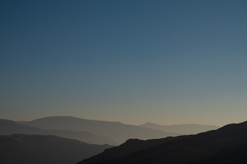 Lake District skyline at dawn, Lake District, UK