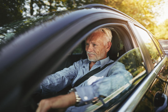Smiling senior man driving on a tree lined country road