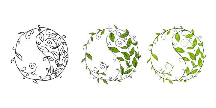 Graphic vector symbol Yin Yang. Design element with floral motif.  Graphic vector symbol Yin Yang. Design element, logo with floral motif.