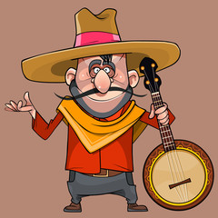 cartoon funny male musician in a sombrero with a banjo in his hand