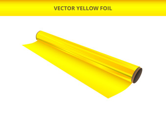 Vector illustration of open roll of plastic yellow foil. Packaging material, decorative, wrapping or adhesive foil, hot stamping foil or other foil. Icon is isolated on a white background.