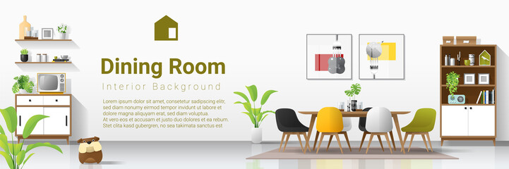 Interior background with modern dining room , vector , illustration
