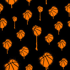 Hand-drawing graffiti seamless pattern for basketball. Sports print, ink spots, splashes background. Print design for children's T-shirts, clothes, banners, flyers.