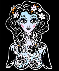 Beautiful girl with body of flowers as a spring or summer season symbol.