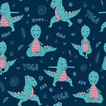 Handdrawn pattern with dinosaur in yoga asana