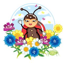 Cute cartoon ladybug. Children illustration.
