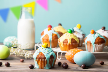 Easter party for kids with colorful cupcakes and candies