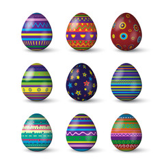 Easter eggs with different texture on white background. Vector spring holiday elements.