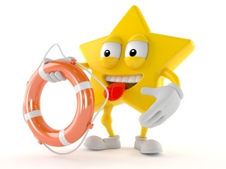 Star character holding life buoy