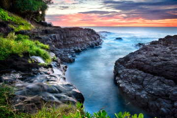 Northshore sunset near Queen's Bath, Kauai, Hawaii
