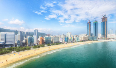 Aerial View of Summer Haeundae Beach,, Busan, South Korea Asia