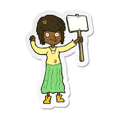 sticker of a cartoon hippie girl with protest sign