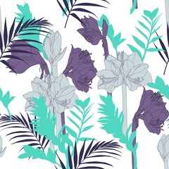 Beautiful blooming seamless pattern with grey and violet Lilies flowers and tropical leaves. Hand drawing illustration on white background.