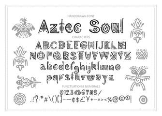 Tribal Aztec Alphabet. Vector.
