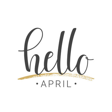 Handwritten lettering of Hello April on white background