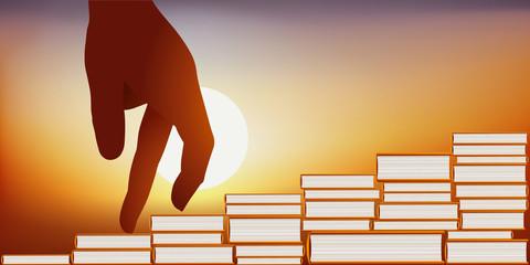 Concept de la connaissance avec une illustration montrant une main montant les marches d'un escalier, symbole de l'élévation de l'esprit par la connaissance.