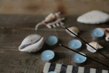 Still Life with aroma sticks in the spa salon