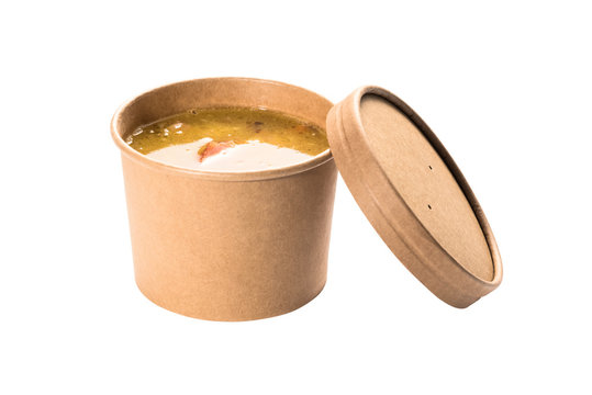 Soup in a disposable cup of craft paper