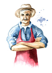 Senior farmer  standing with crossed arms. Watercolor hand drawn illustration, isolated on white background