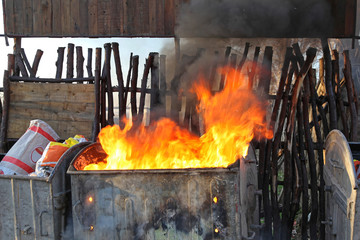 Canvas Prints Fire / Flame Inferno Dumpster