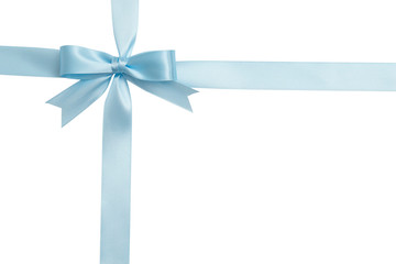 Blue bow and ribbon isolated on white background. Insulation.