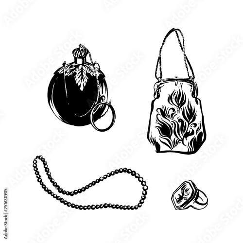 9d83998071 ... hand drawn set. Vintage perfume bottle, victorian style handbag, retro  beads necklace and ring. Sketch black isolated illustration on white  background