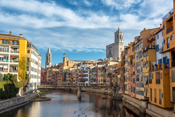 Onyar River and View of Girona, Spain