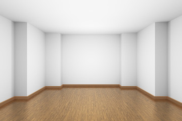 White empty room with brown wooden parquet floor.