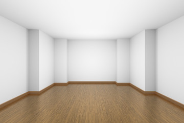 Empty white room with brown hardwood parquet floor