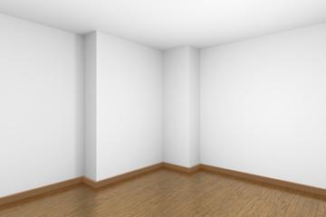 Empty white room corner with brown wooden parquet floor