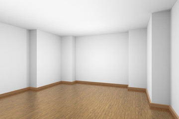 White empty room with brown wood parquet floor.