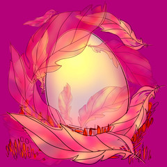 Colorful Easter egg and feathers in nest on a pink vibrant background. Greeting cards for Easter, print and poster. Holiday concept with egg in a bird nest decorations. Game of color.