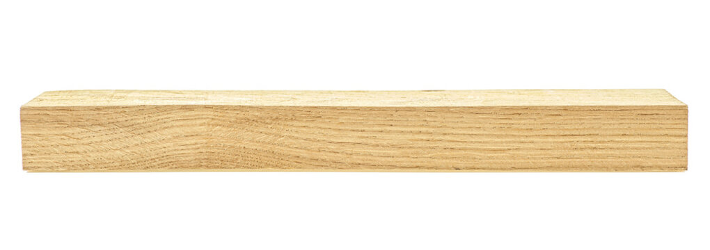 Wooden board isolated on white background. Oak wooden beam.