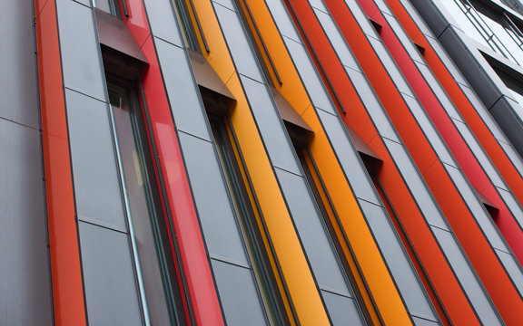 Modern architecture building in Stockholm with colorful abstract facade