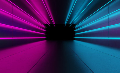 The background of an empty room with concrete walls and floor tiles. Pink and blue neon light, smoke. Spotlight Fotomurales