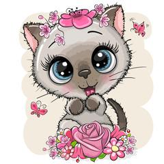 Cartoon Kitten with flowerson a white background